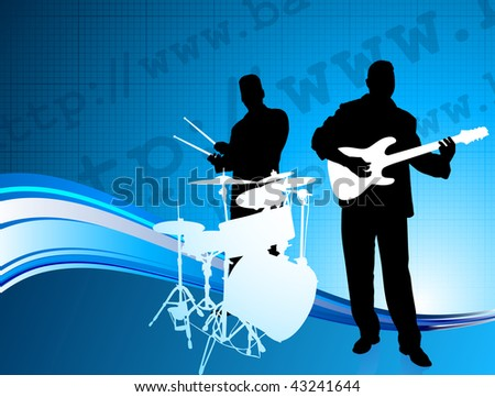 Musical Band on Internet Background Original Vector Illustration  Musical Band Ideal for Live Music Concept - stock vector