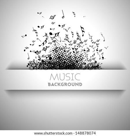 Musical banner, flyer, poster or background with musical notes.  - stock vector