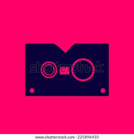 musical cassette tape vector design logo symbol - stock vector