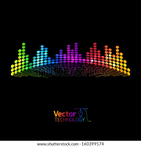 Musical colored equalizer - stock vector