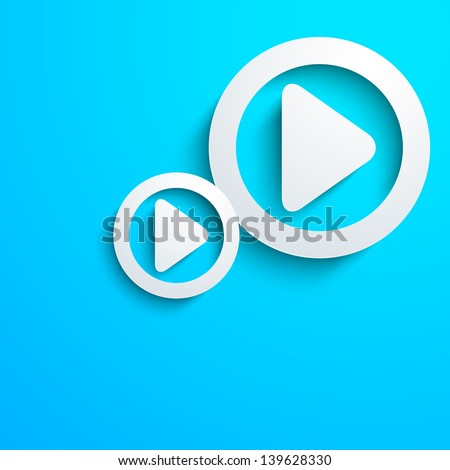 Musical concept with play button on blue background. - stock vector
