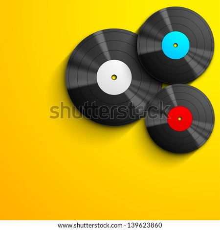 Musical concept with vinyl disc on yellow background. - stock vector