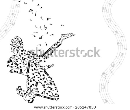 Musical Design Elements From Music Staff With Guitarist And Notes in Black and White Colors. Elegant Creative Design With Shadows and Isolated on White. Vector Illustration. - stock vector