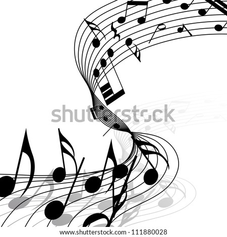 Musical Design Elements From Music Staff With Notes in Black and White Colors. Elegant Creative Design With Shadows and Isolated on White. Vector Illustration.