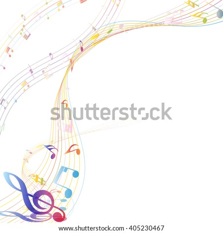 Musical Design Elements From Music Staff With Treble Clef And Notes. Elegant Creative Design With Shadows.