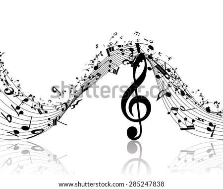Musical Design Elements From Music Staff With Treble Clef And Notes in Black and White Colors. Elegant Creative Design With Shadows and Isolated on White. Vector Illustration. - stock vector