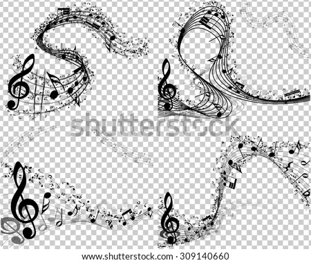 Musical Designs Sets With Elements From Music Staff , Treble Clef And Notes in Black and White Colors. Elegant Creative Design With Shadows and Transparency. Vector Illustration. - stock vector