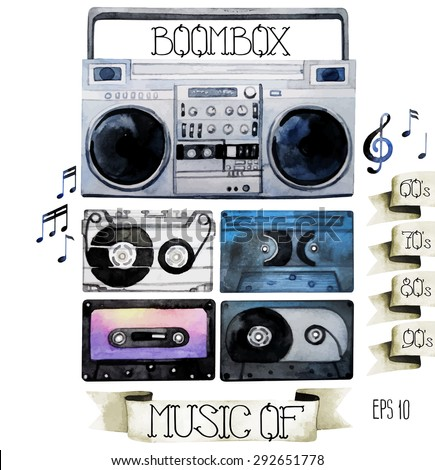 Musical devices of 60`s, 70`s, 80`s, 90`s. Watercolor tape recorder and cassettes. Vector design elements isolated on white background