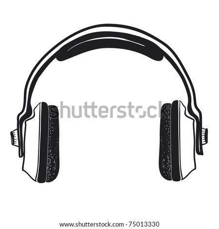 Musical ear-phones. A children's sketch.Headphones isolated on a white background. - stock vector