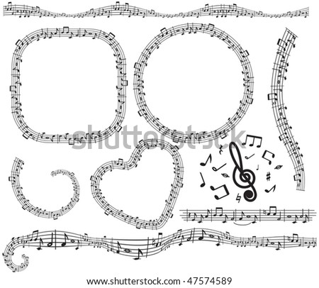 Musical elements for your design- vector notes,frame,border,icons,symbols... - stock vector