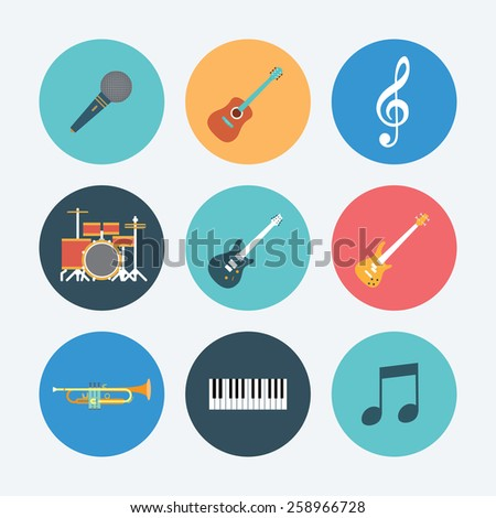 musical equipment icon set. Flat icon. illustration vector EPS10 - stock vector