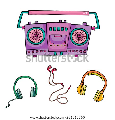 Musical equipment. Retro tape recorders and collection of headphones - stock vector