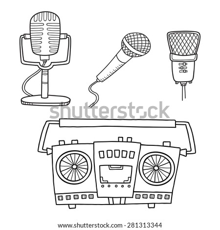 Musical equipment. Retro tape recorders and collection of microphone - stock vector