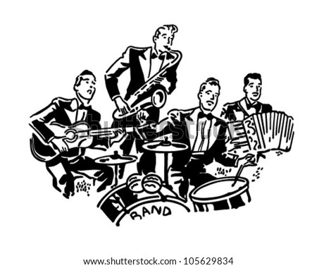 Musical Group - Retro Clipart Illustration - stock vector