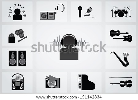 musical icon - stock vector