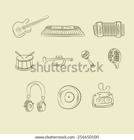 musical icons on a light background hand-drawn - stock vector