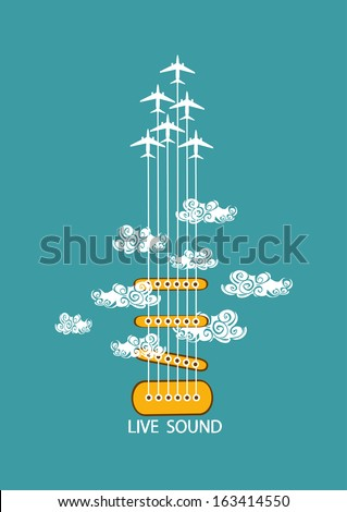 Musical illustration with concept guitar and airplanes in the sky - stock vector