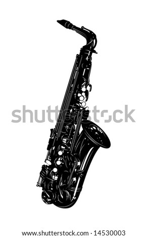 musical instrument a saxophone on a white background - stock vector