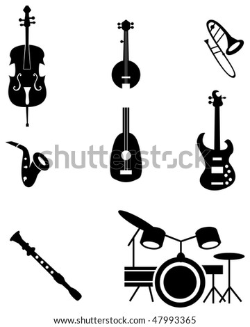 Musical instrument icon set isolated on a white background.