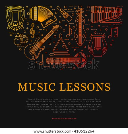Musical instrument linear style vector illustration on dark background. Music colorful banner template. Place for your text. - stock vector