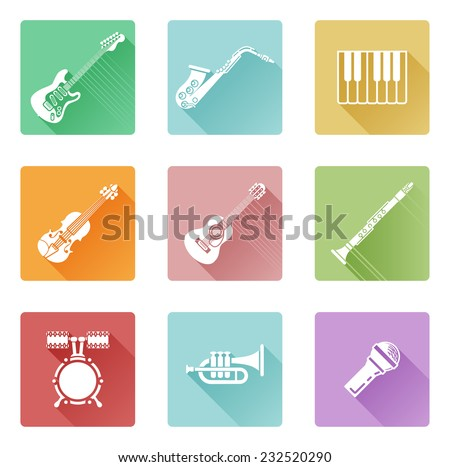 Musical instrument music icons including ones for clarinet, guitar, piano and many more
