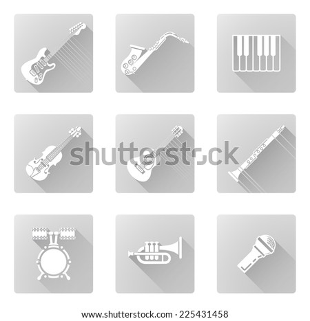 Musical instrument music icons including ones for clarinet, sax, trumpet and many more - stock vector