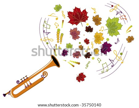 musical instrument played by the excellent melody fall - stock vector