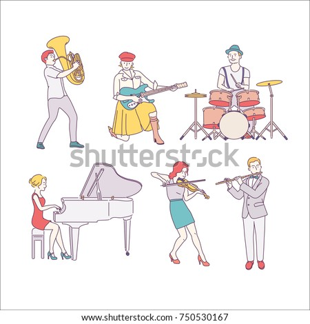 Musical instrument players character hand drawn illustrations. vector doodle design