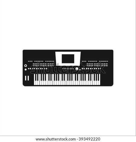 Musical instrument synthesizer simple icon on colorful white background