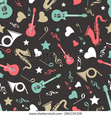 Musical instrument with musical notes in different color on black background. - stock vector