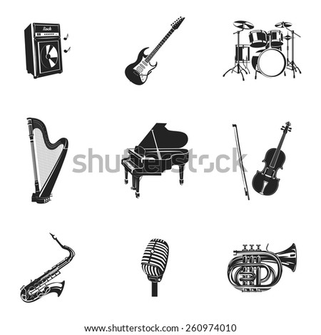 Musical instruments and equipment black decorative icons set isolated vector illustration - stock vector