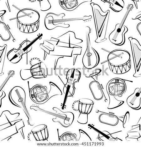Musical instruments background for musical event theme design with black and white seamless pattern of grand pianos, drums and guitars, trumpets, horns and violins, harps and mandolins