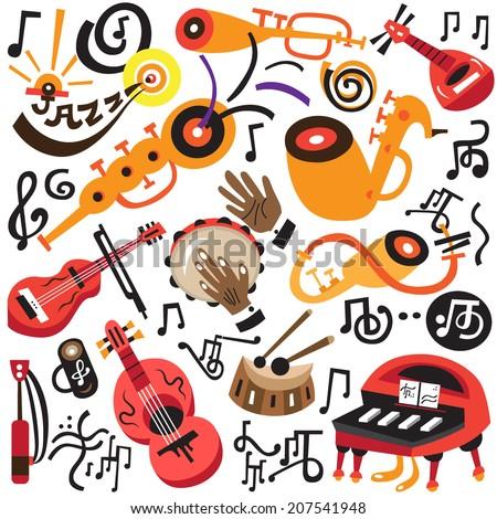 musical instruments - doodles set  - stock vector