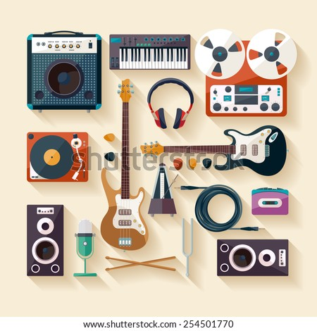 Musical instruments. Flat design. - stock vector