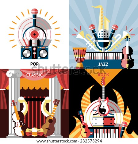 Musical instruments flat icons set with pop jazz classic rock isolated vector illustration. - stock vector