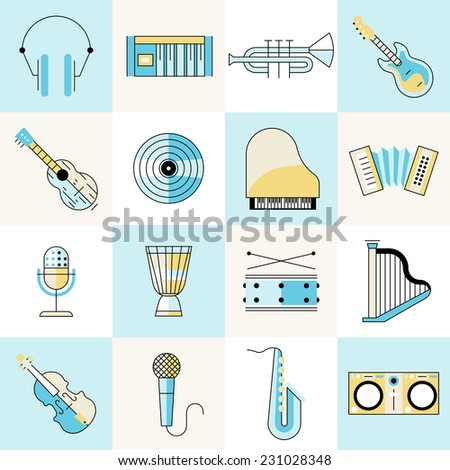 Musical instruments flat line icons set with headphones keyboard trumpet guitar isolated vector illustration - stock vector