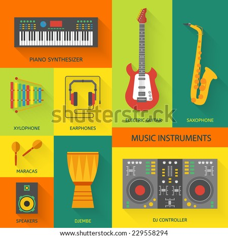 Musical instruments flat vector icons. - stock vector