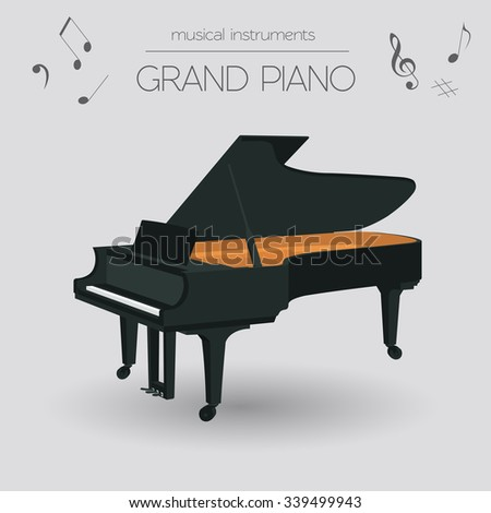 Musical instruments graphic template. Grand piano. Vector illustration