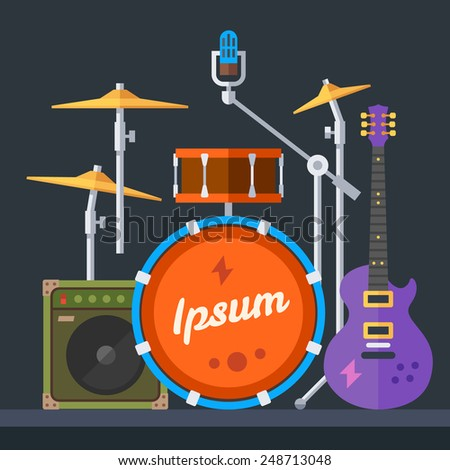 Musical instruments: guitar, drums, cymbals, synthesizer, speaker ... White Drum Set Silhouette