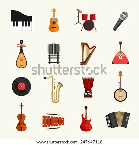 Musical instruments icon set - stock vector