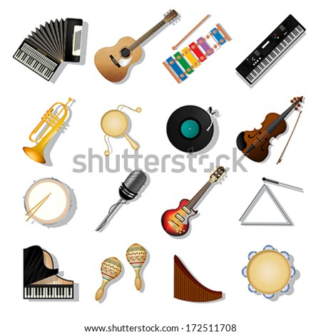 Musical instruments icon set over white background - stock vector