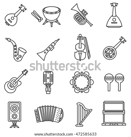 musical instruments icons set. Thin line design