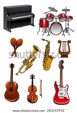 Musical instruments in cartoon style with piano, drum set, maracas, trumpet, saxophone, violin, lyre, acoustic and electric guitars - stock vector