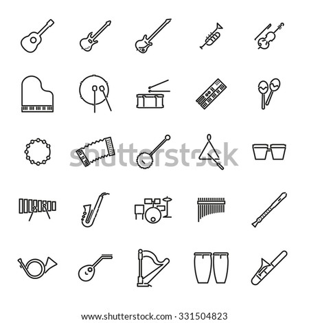 Musical Instruments Line Icon Set Collection 331504823