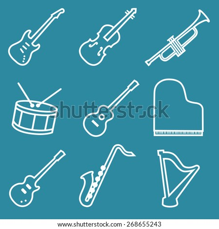 Musical instruments line icons set vector illustration