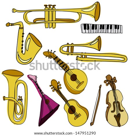 musical instruments over white background vector illustration