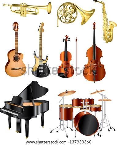 musical instruments photo-pealistic vector set - stock vector