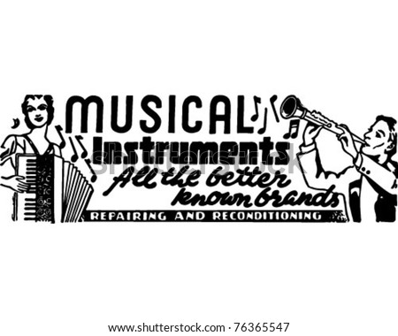 Musical Instruments 2 - Retro Ad Art Banner - stock vector