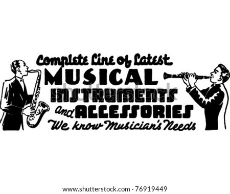 Musical Instruments 3 - Retro Ad Art Banner - stock vector