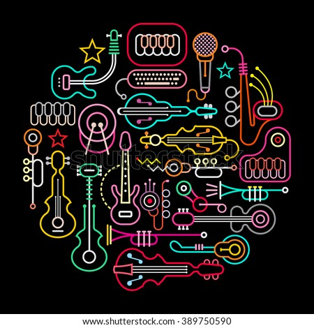 Musical instruments round vector illustration. Neon colors silhouettes on a black background.